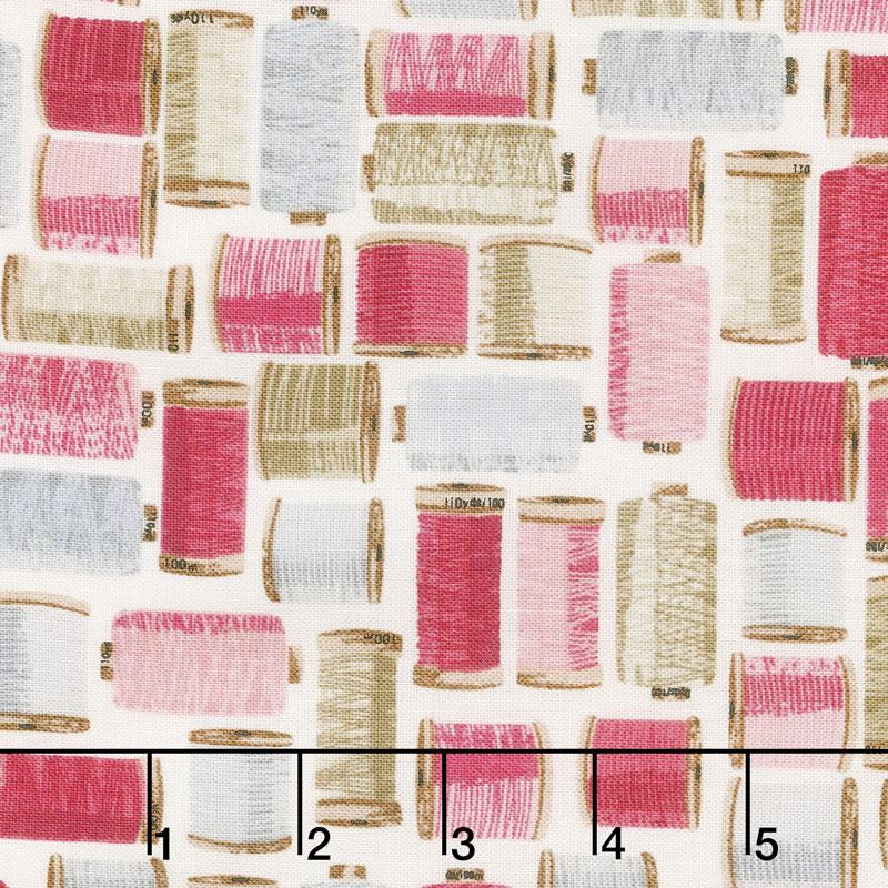 Stitch in Time - Thread Spools Pink Yardage