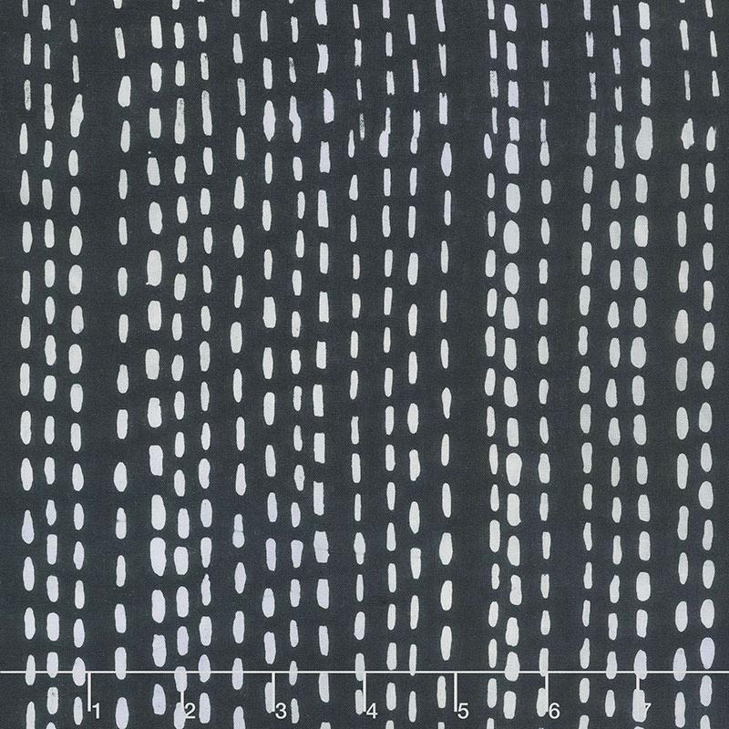 Stitched Batiks - Running Stitch Charcoal Yardage