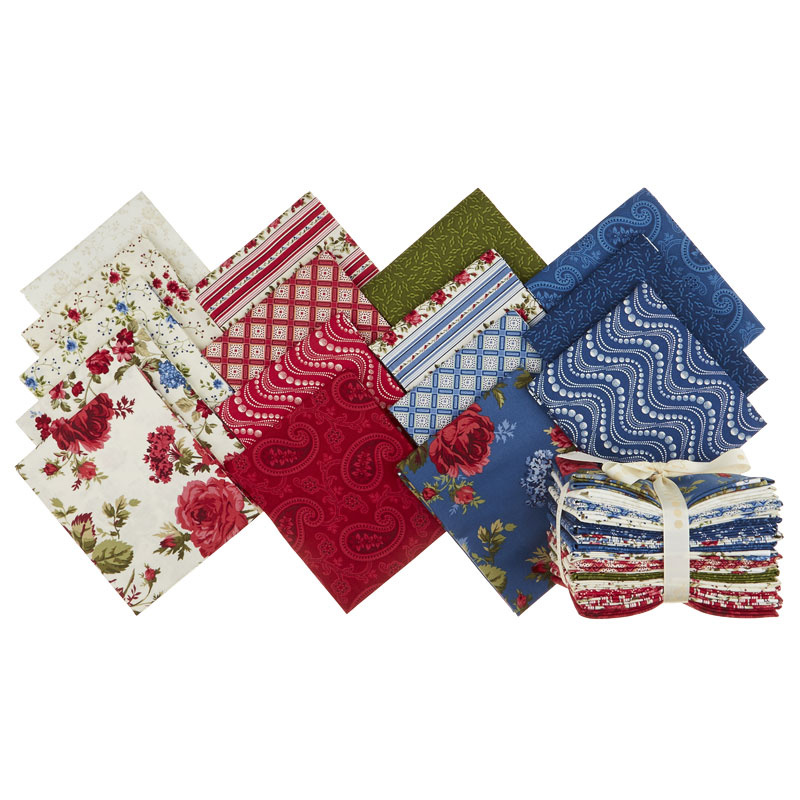 Red & Blue...and Roses Too! Fat Quarter Bundle