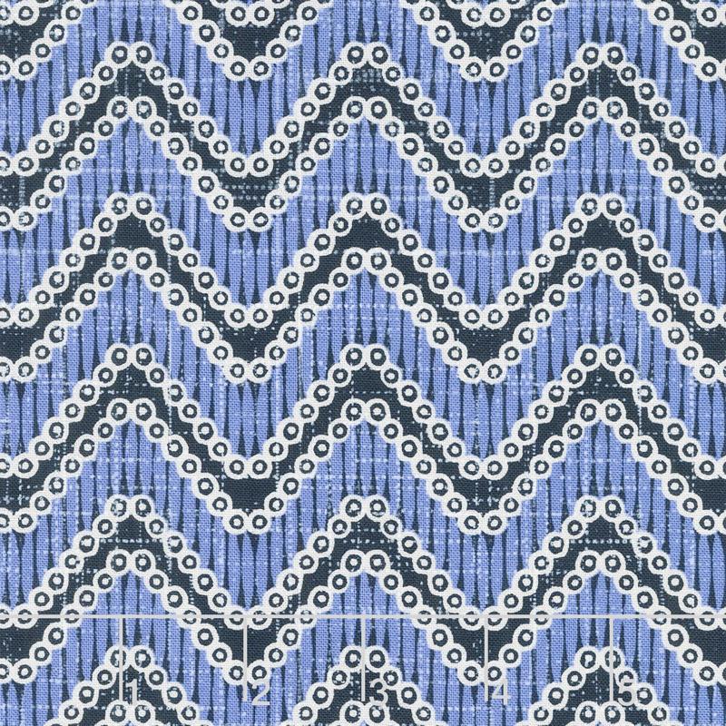 Moody Blues - Chevron Medium Blue Yardage