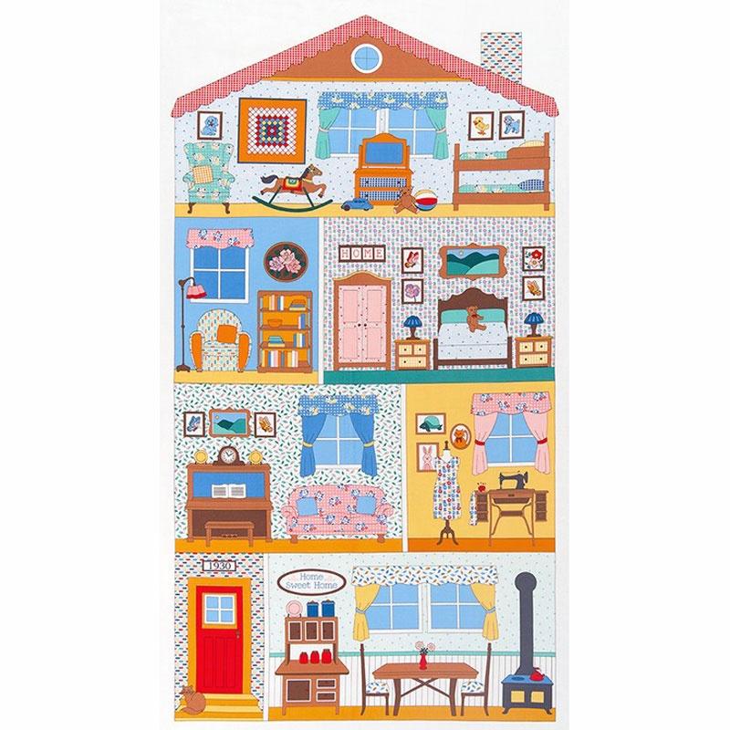 Penny S Dollhouse Doll House Panel Vintage Yardage Darlene
