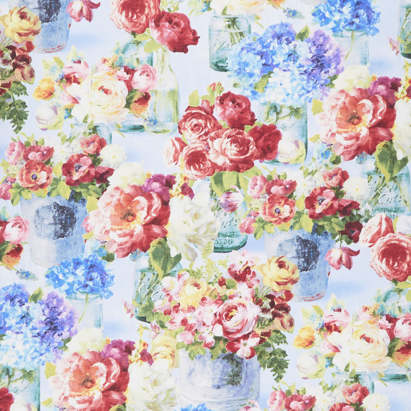 Flower Market - Flowers in Jars Blue Yardage