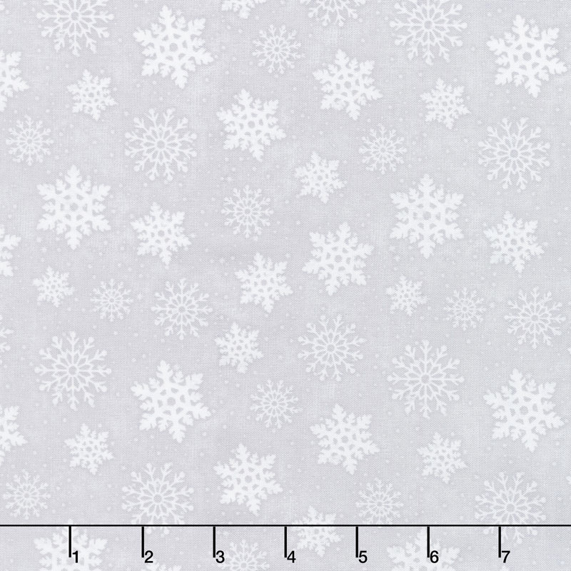 Snowy Wishes - Snowflakes Gray Yardage