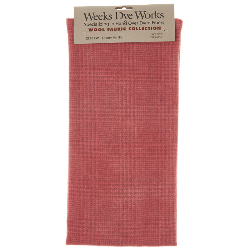 Weeks Dye Works Hand Over Dyed Wool Fat Quarter - Glen Plaid Cherry Vanilla