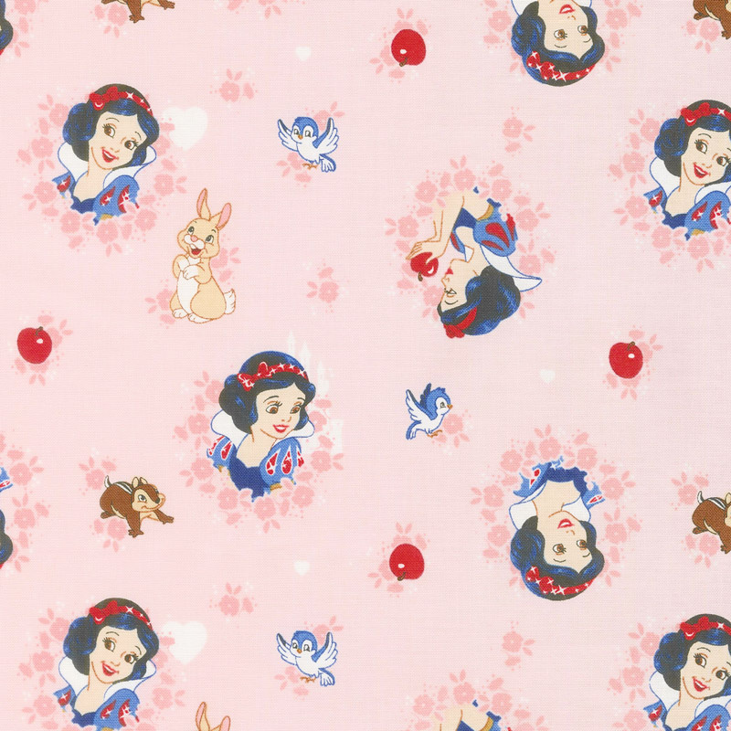 Disney Forever Princess - Snow White in Wreaths in Light Coral Yardage