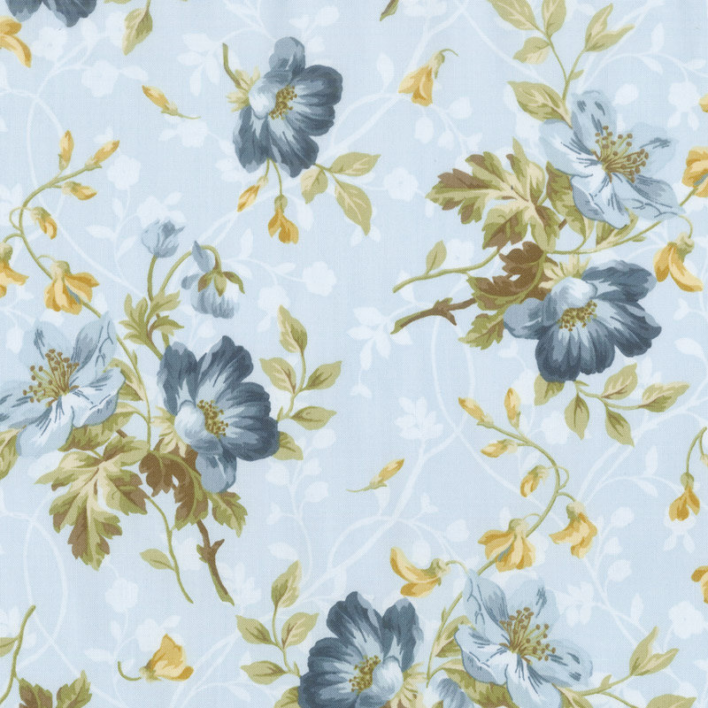 English Countryside - Spaced Floral Light Blue Yardage