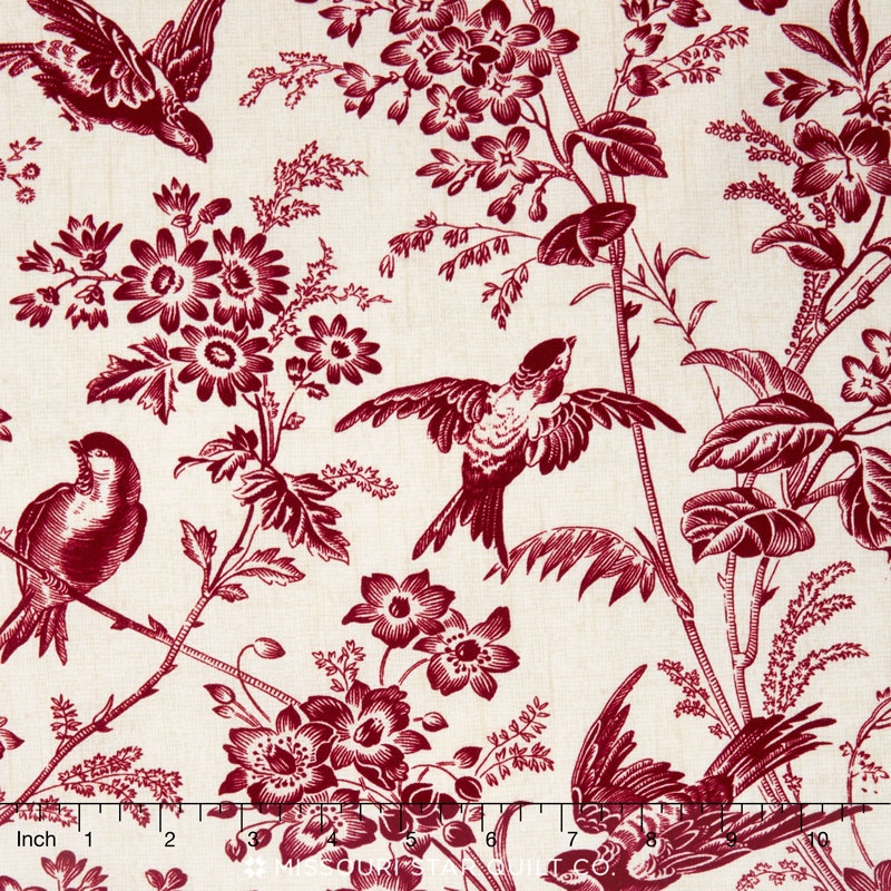 toile de jouy toile garden red yardage emily hayes. Black Bedroom Furniture Sets. Home Design Ideas