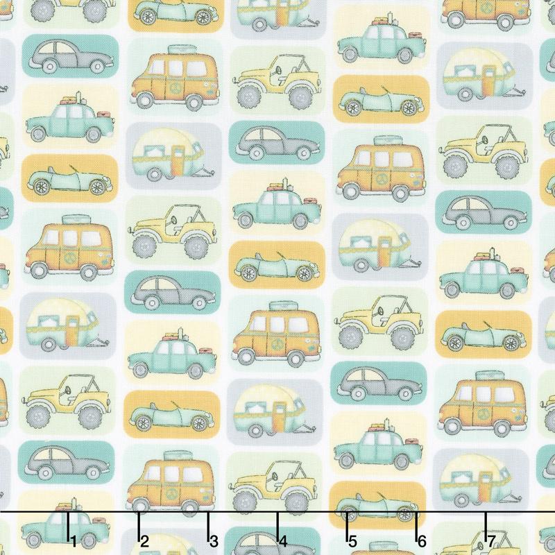 Road Trippin' - Transport White Yardage