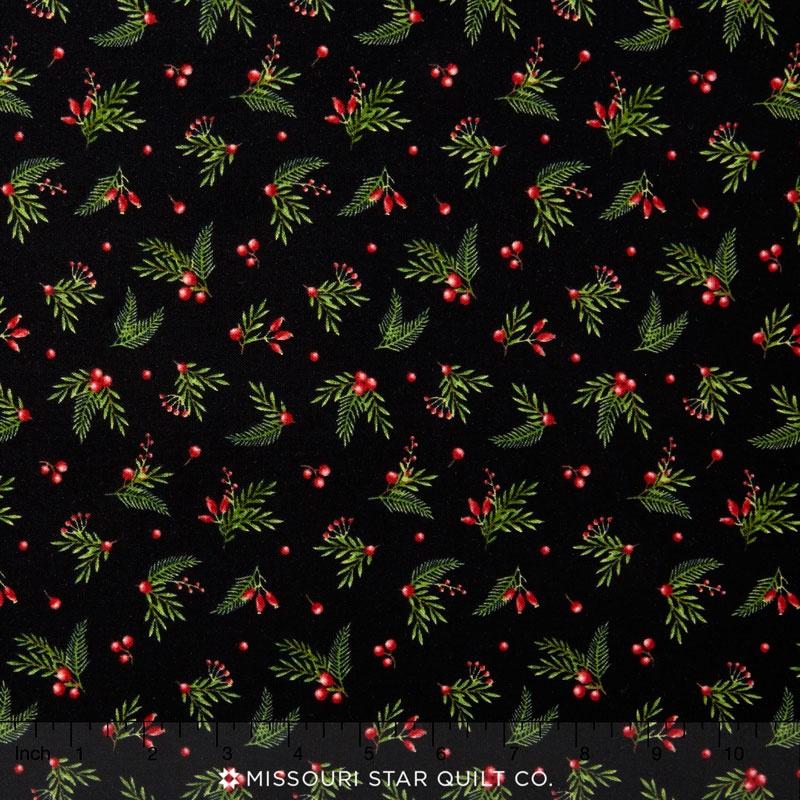 Songbird Christmas - Leaves & Berries Black Yardage