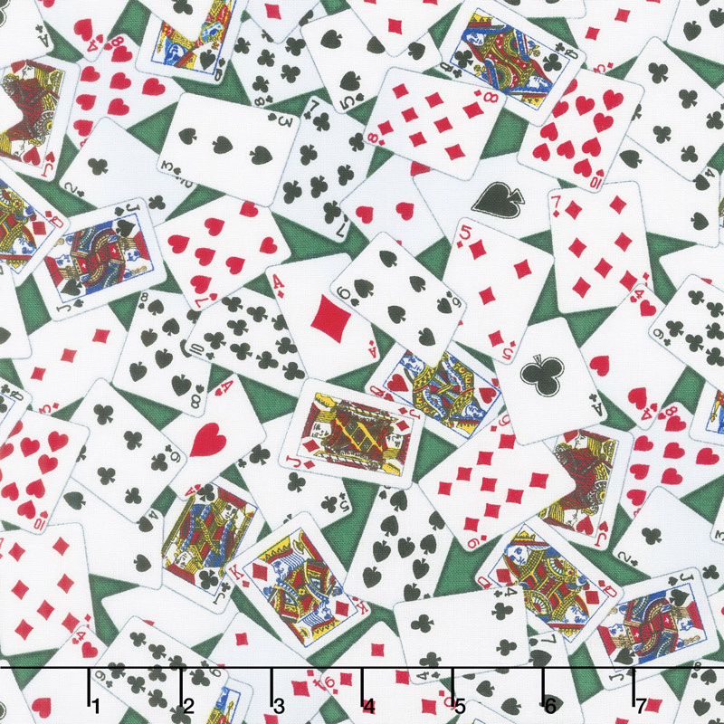 Novelty - Tossed Playing Cards Green Yardage