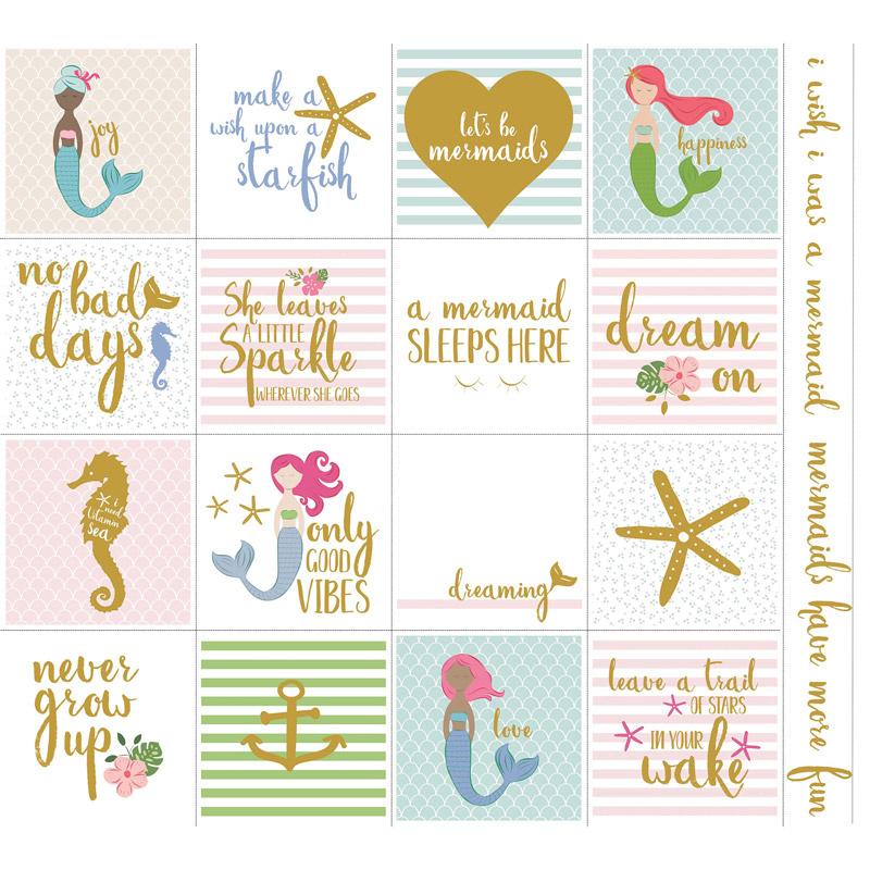 Let's Be Mermaids - White Sparkle Panel