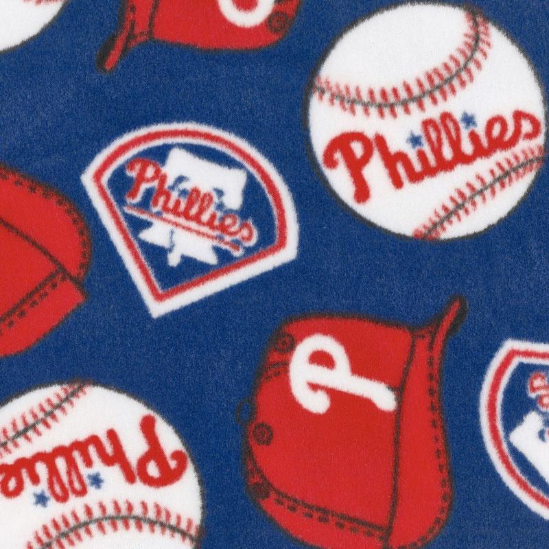 MLB Fleece - Philadelphia Phillies Blue Yardage