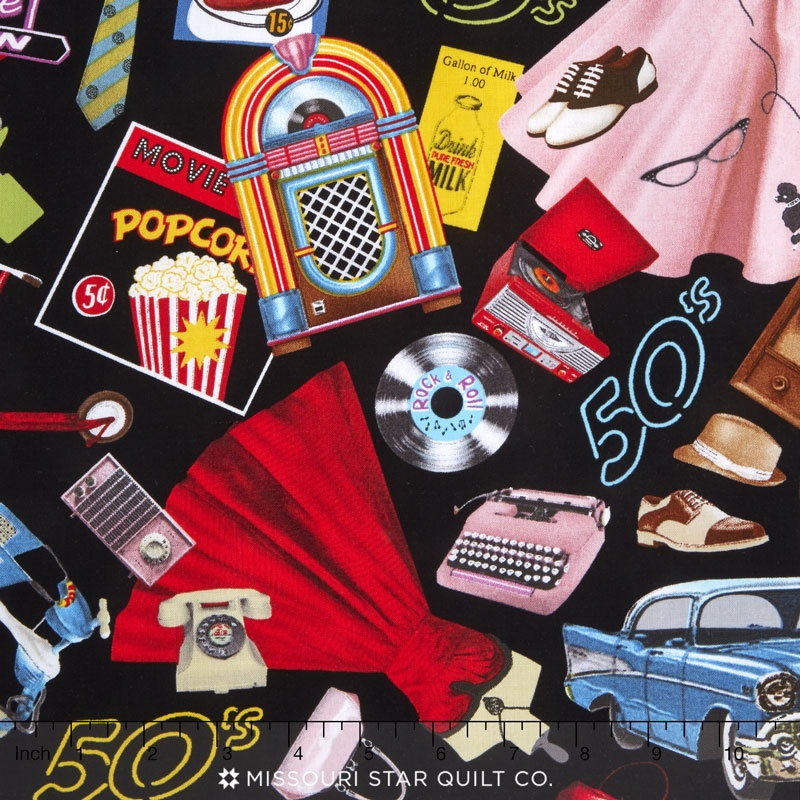 rock around the clock things from the 50 s black yardage blank