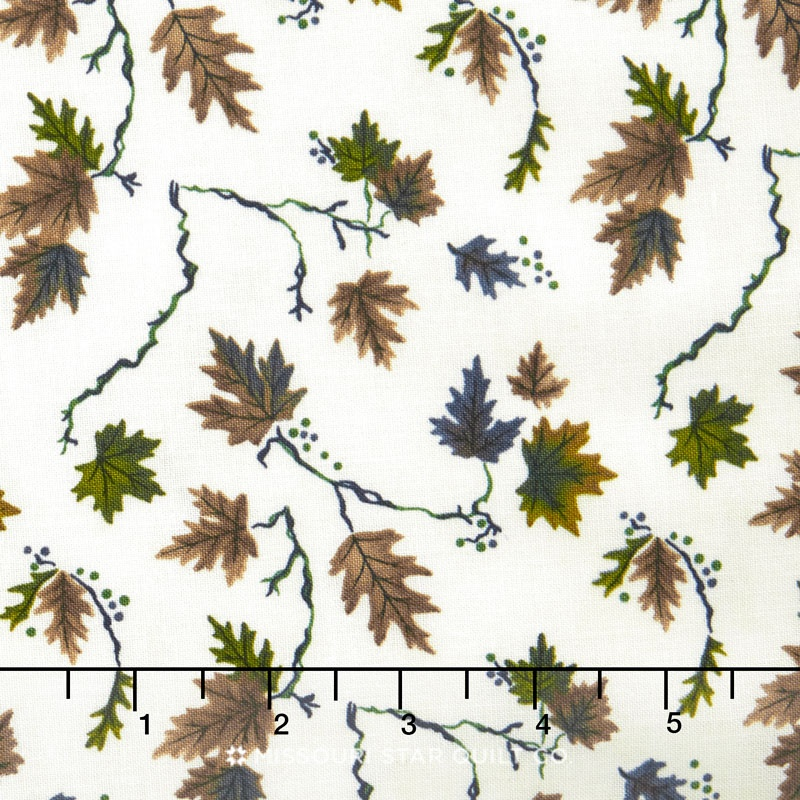 River Journey - Summer Leaves Slate Blue Yardage