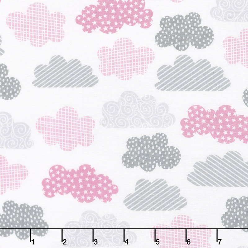 One Sheep, Two Sheep - Clouds Allover White Yardage