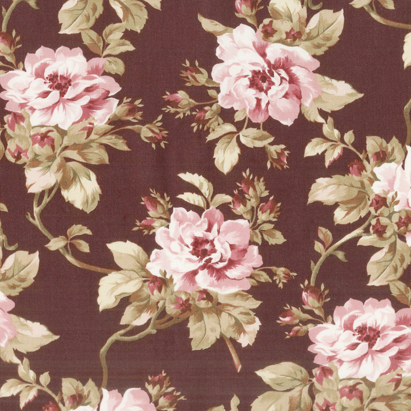 Burgundy & Blush - Trailing Roses Burgundy Yardage