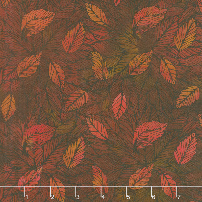 Seasons - Leaves Spice Digitally Printed Yardage