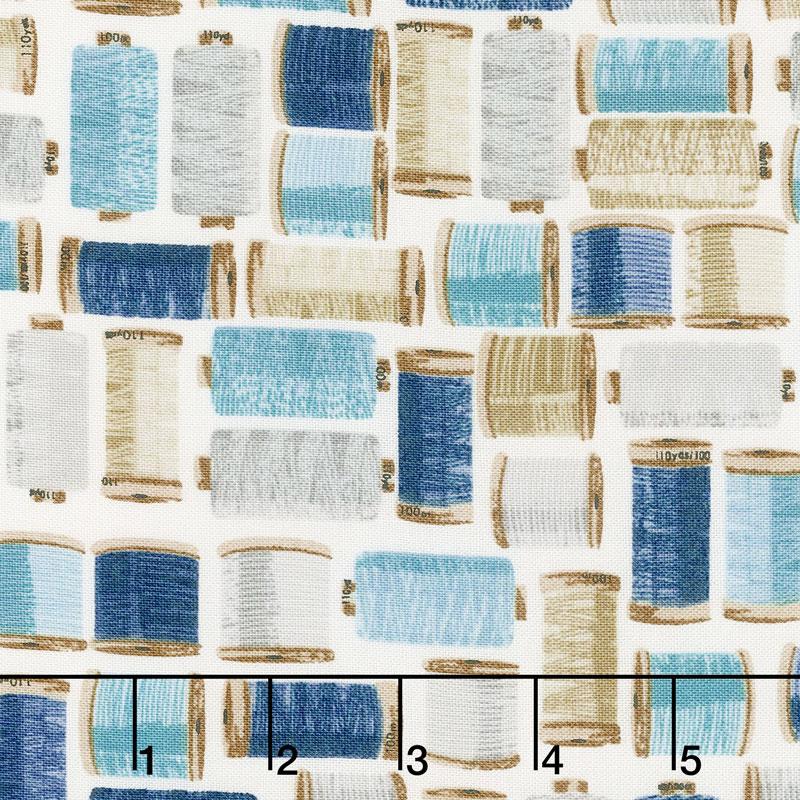 Stitch in Time - Thread Spools Blue Yardage