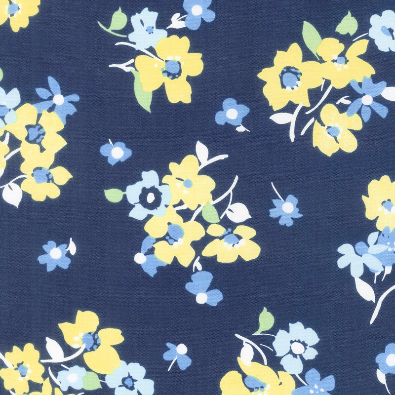 Only You - Tossed Floral Blue Yardage