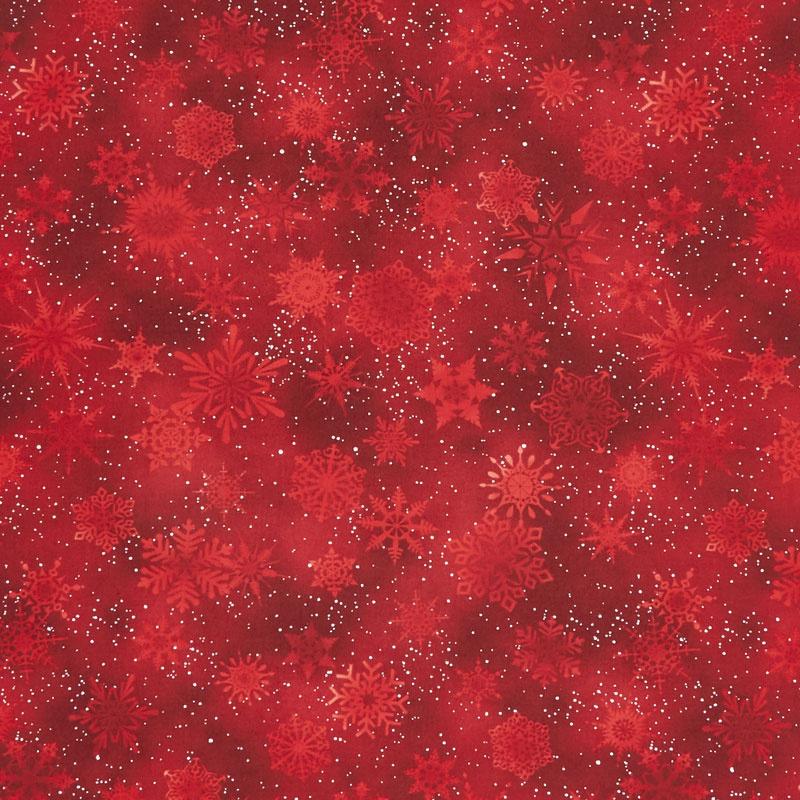 Winter's Grandeur 7 - Scarlet Snowflakes Metallic Yardage****DO NOT PUBLISH DUPLICATE OF FBY77568