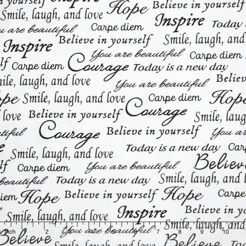 108 Quilt Back Inspirational Words White 108 Backing Whistler