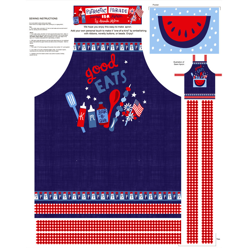 Patriotic Parade - Apron Blue Red Panel