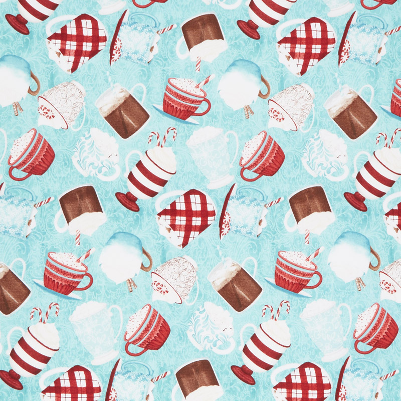 Cuppa Cocoa - Tossed Cups Teal Yardage