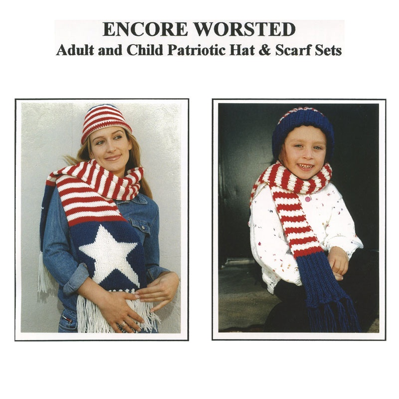 Encore Worsted Adult And Child Patriotic Hat & Scarf Sets Pattern