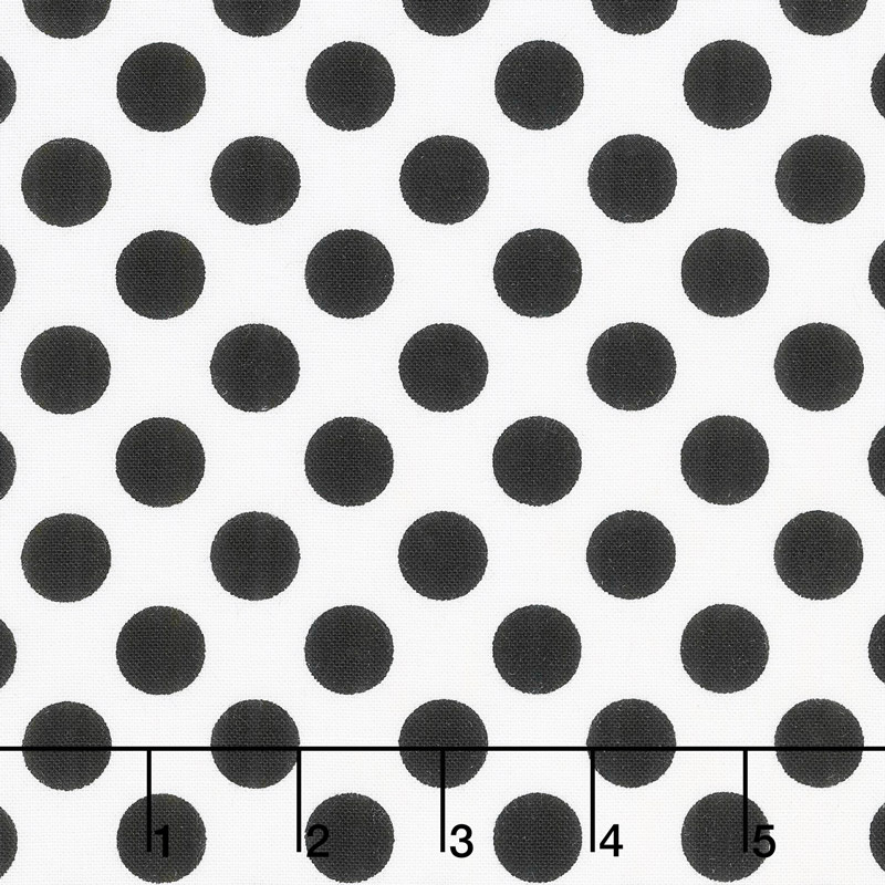 Black & White - Ta Dot Bright White Yardage