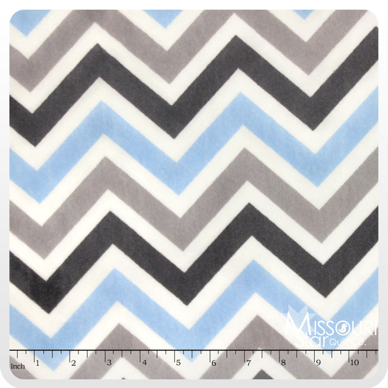 Cuddle Classic Zig Zag Baby Blue Silver White 60 Quot Minky