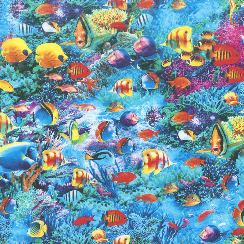 Picture This Fish Ocean Digitally Printed Yardage