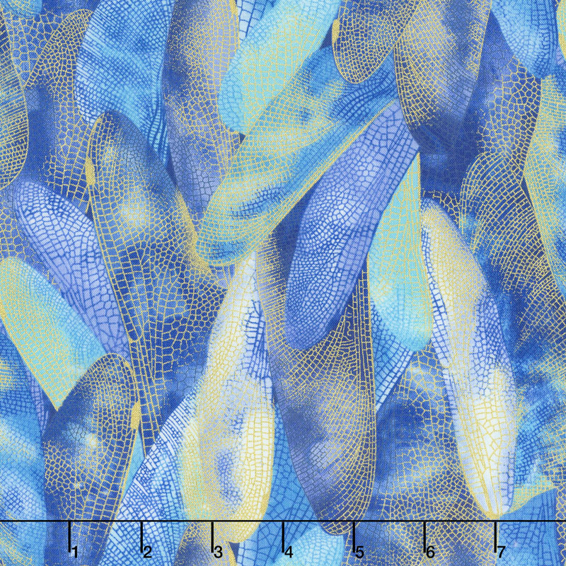 Dragonfly Dance - Blue Gilded Wings Cobalt Blue Metallic Yardage