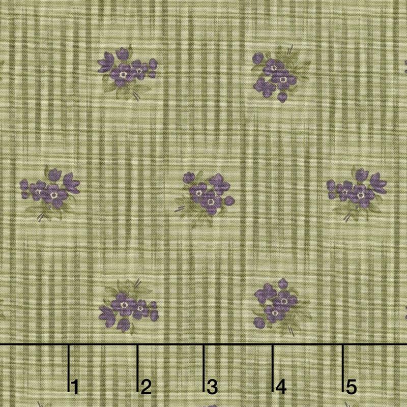 Sweet Violet - Gingham & Floral Leaf Yardage