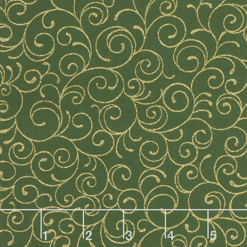 Cardinal Song Metallic - Scroll Evergreen Yardage