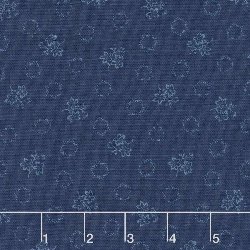 Abigail Blue - Geo Floral Navy Blue Yardage