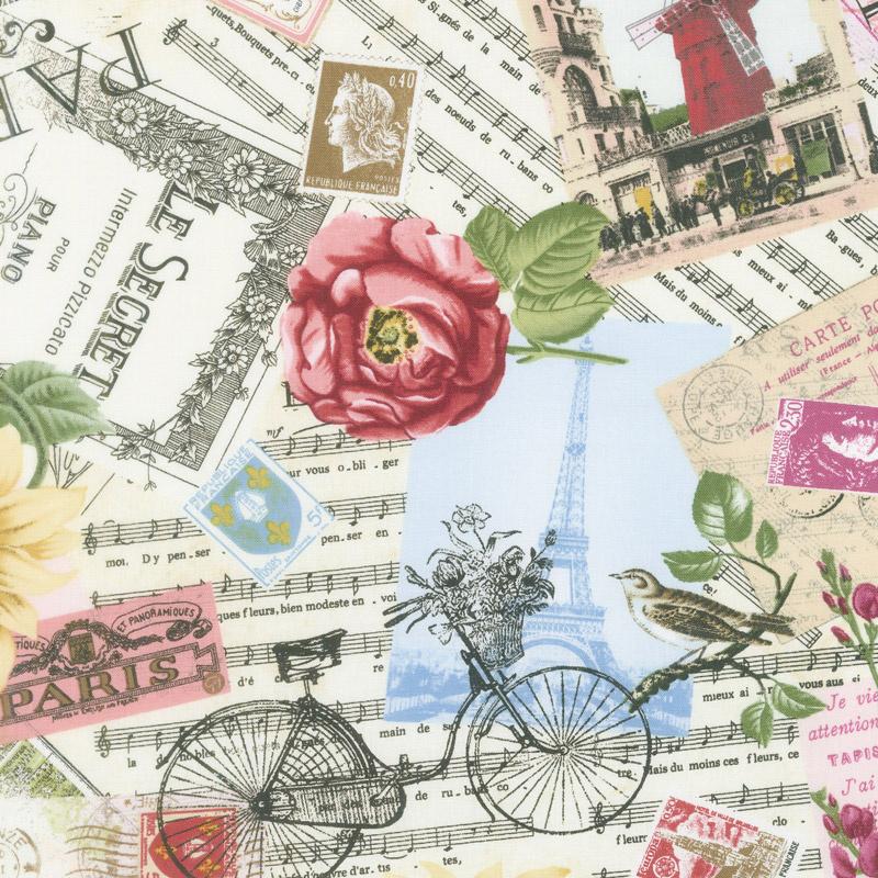 Novelty - Paris Post Cards and Sunflowers Multi Yardage
