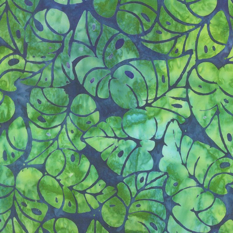 Artisan Batiks - Totally Tropical Leaves Island Green Yardage