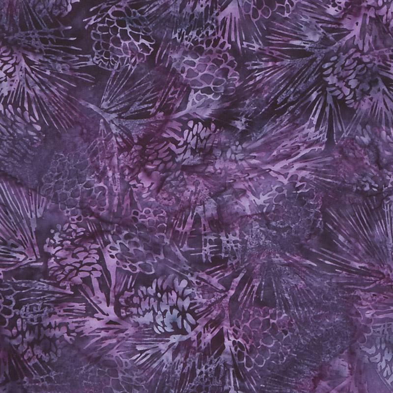 Winterscape Batiks - Pinecone Blackberry Yardage