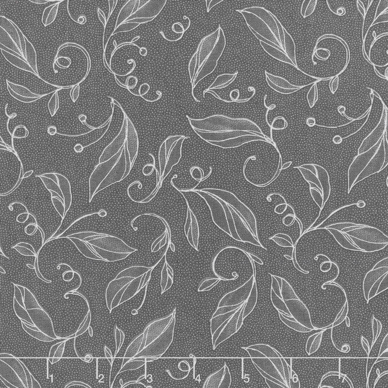 Sweet Pea & Lily - Swirly Leaves Stormy Yardage