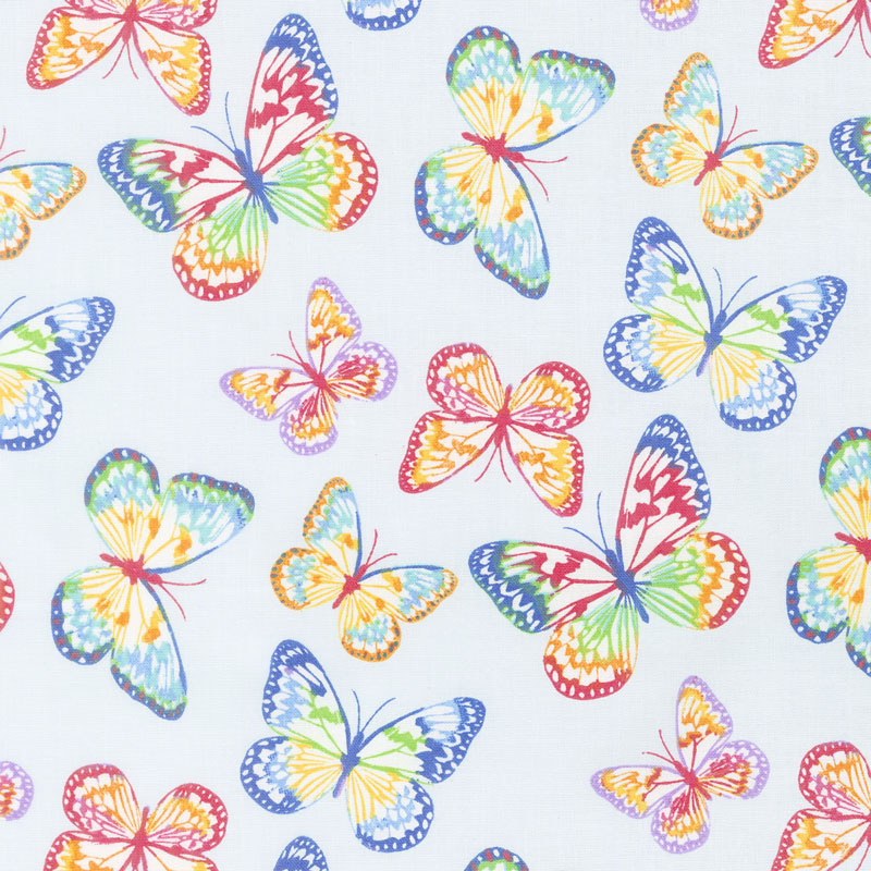 Emelia's Dream - Butterflies Light Blue Yardage