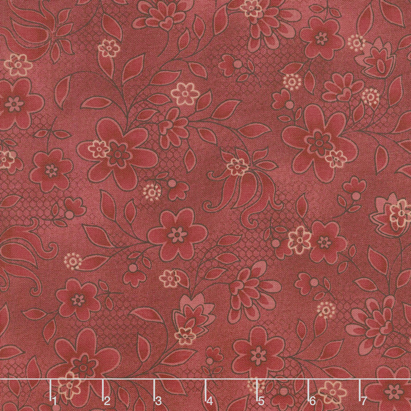 Tickled Pink - Lacey Floral Red Yardage