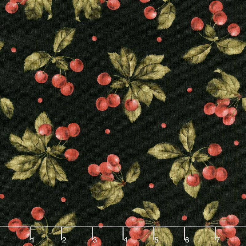 A Fruitful Life - Cherries Black Yardage