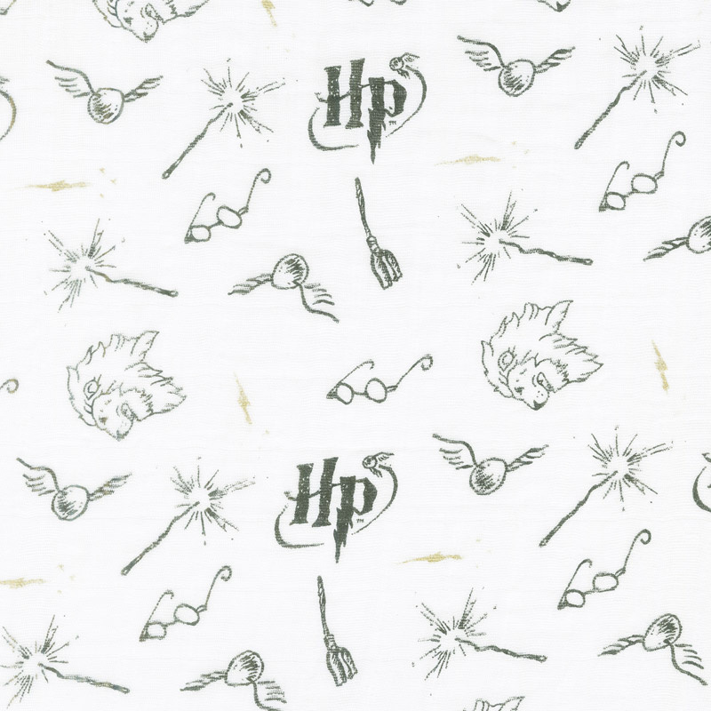Cotton Muslin Double Gauze - Harry Potter Wizarding White Metallic Yardage