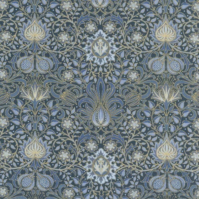 Morris Holiday 1904 - Persian Indigo Metallic Yardage