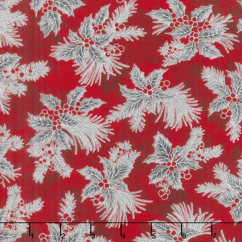 Holiday Flourish 12 - Scarlet Boughs Metallic Yardage