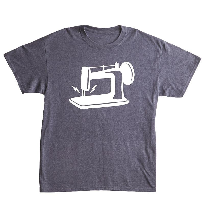 Man Sewing Heathered Navy Sewing Machine T-Shirt - Large