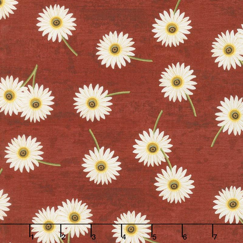 Sunset Blooms - Daisies Red Yardage