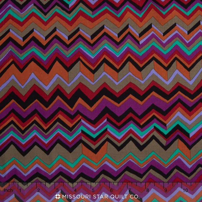 Kaffe Collective - Jewel Zig Zag Black Yardage