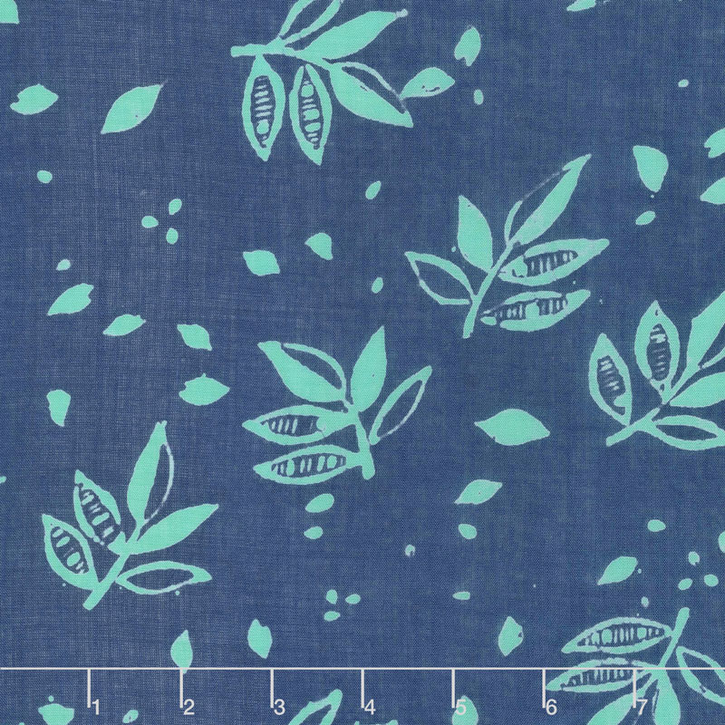 Bazaar Rayon Batiks - Leaves Midnight Yardage