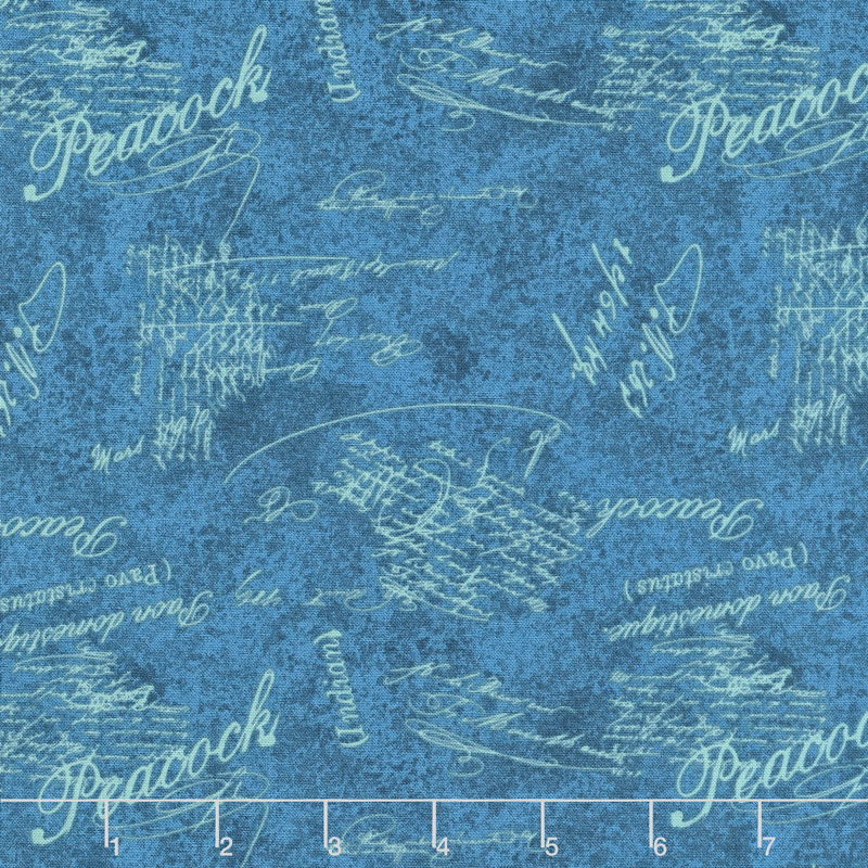 Plumage - Words Allover Blue Yardage